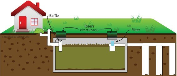 Allgood's graphic explaining what is a septic system with baffle, filters and risers on front and back